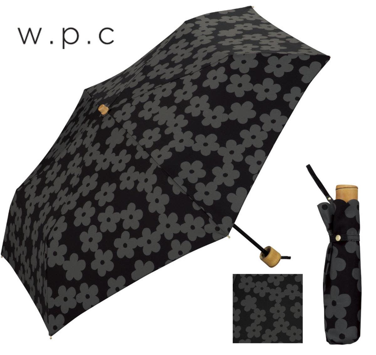 """防UV及隔熱能力兼備‧日本雨傘專家  - """"暗小花紋""""黑色優質輕巧縮骨遮"""
