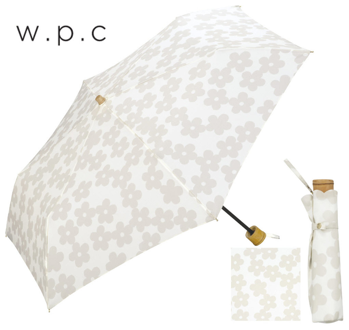 Anti UV & Heat ‧Umbrella specialist from Japan - Folding Parasol Flower Silhouette White