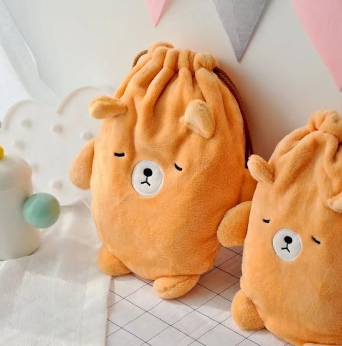 日本款舒適特大號毛絨暖水袋 - 睡覺啡色小熊