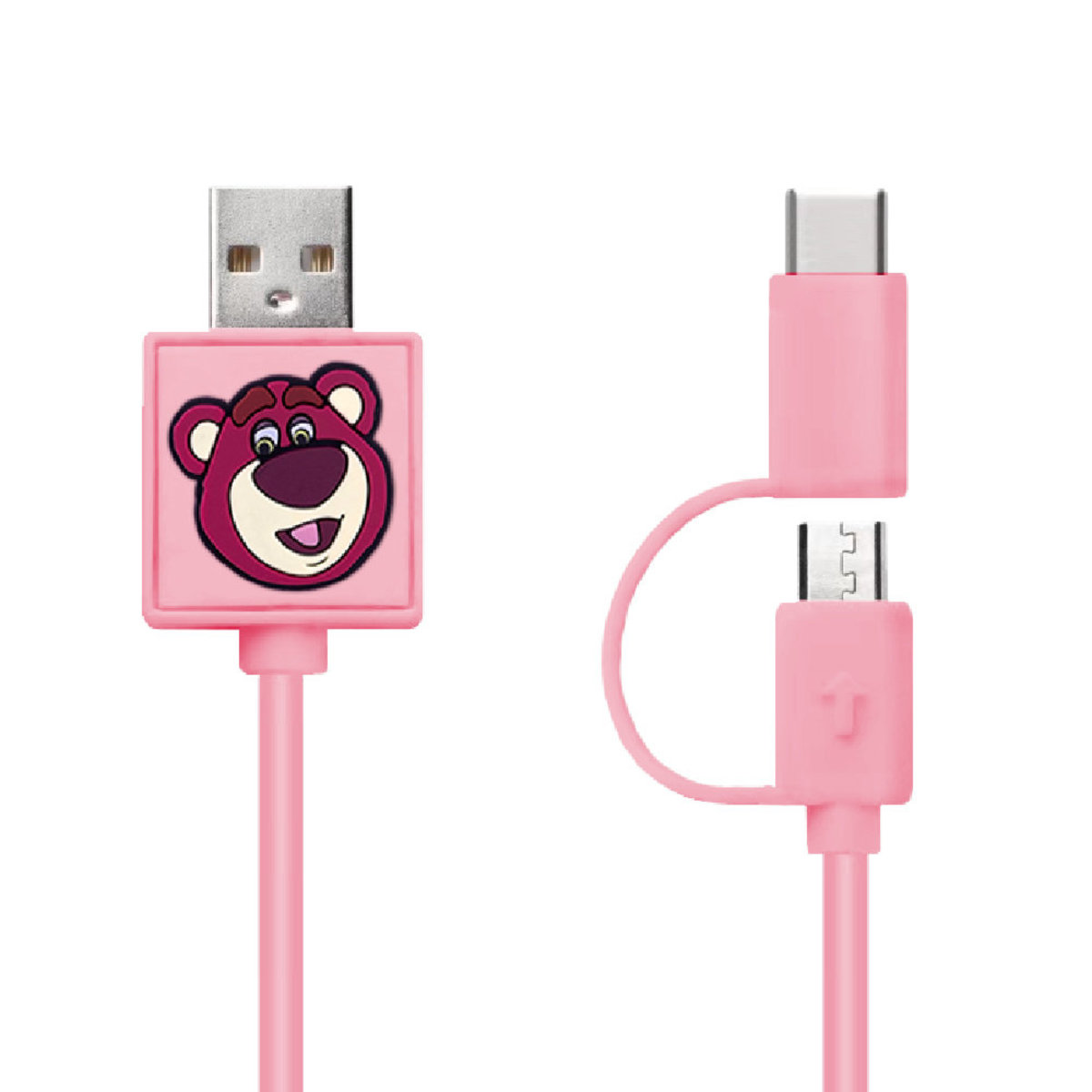 Disney Lotso 2 IN 1 (Micro USB &Type C Cable) [Licensed by Disney]