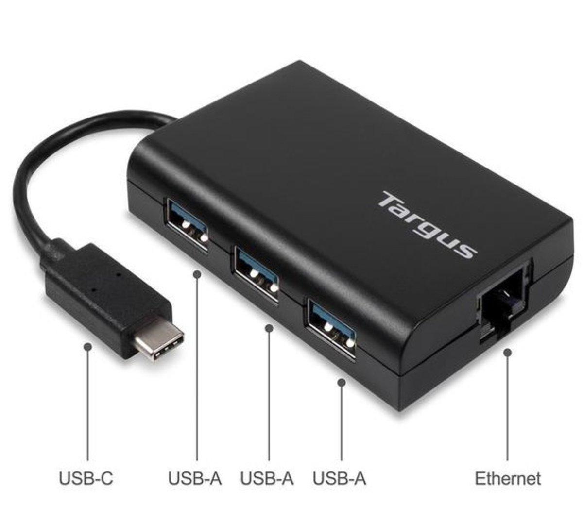 USB-C 轉 LAN RJ-45 插座 + 3個 USB3.0 集線器 ACH230