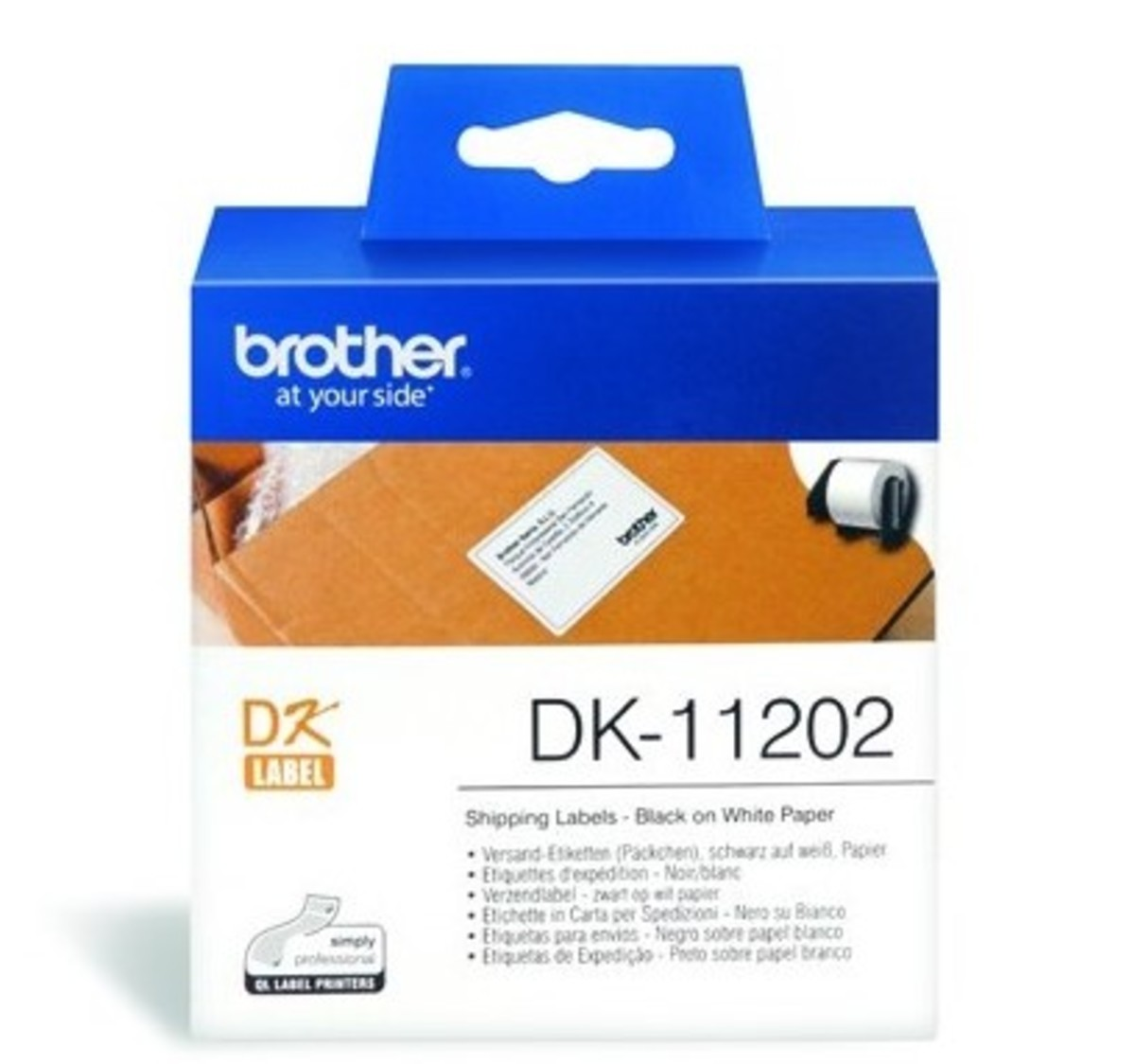 DK 11202 Die-Cut 62mm x 100mm Paper Label 300 Labels per roll BLACK on WHITE (for QL Printers)