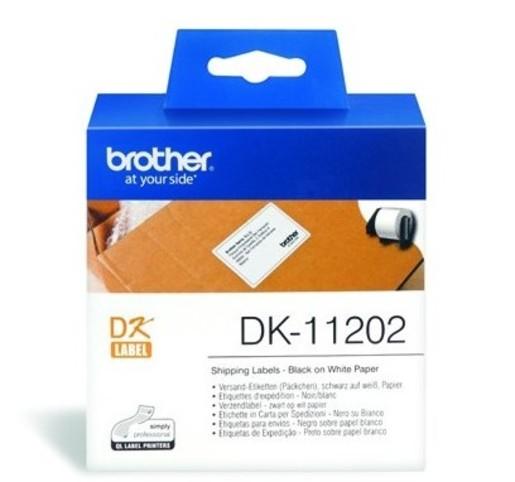 DK 11202 Die-Cut 62mm x 100mm Paper Label 300 Labels per roll BLACK on WHITE (for QL Printers)