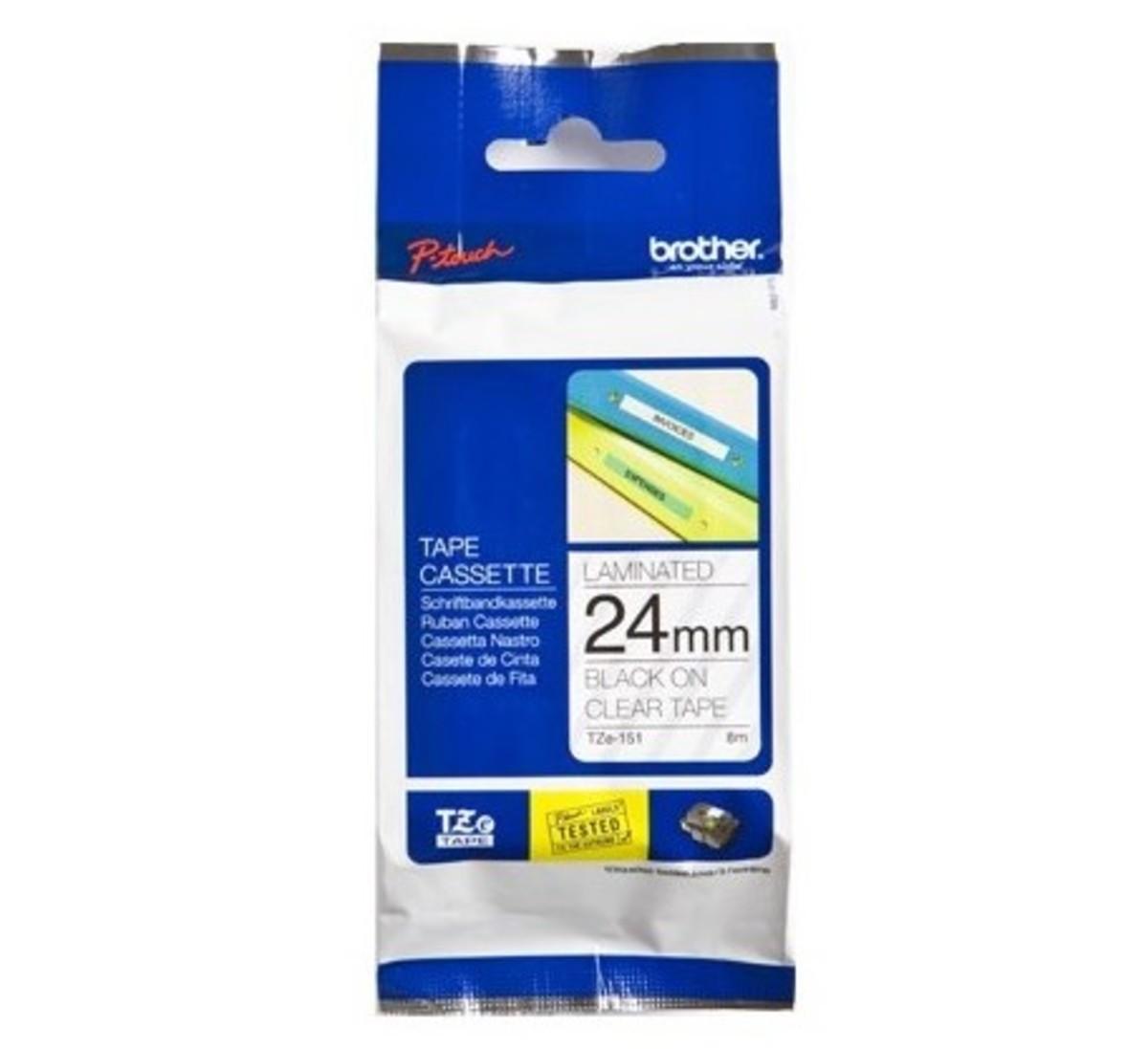 24mm 透明底黑字 TZe-151 過膠保護層標籤帶
