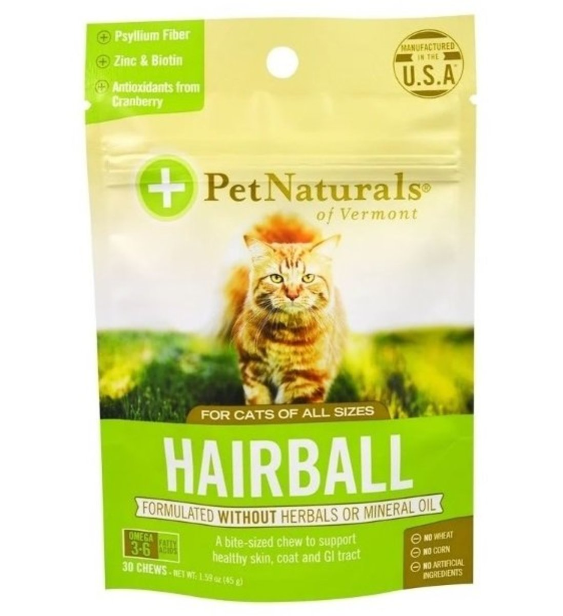 Pet Naturals Vermont Hairball For Cats 30 Chews