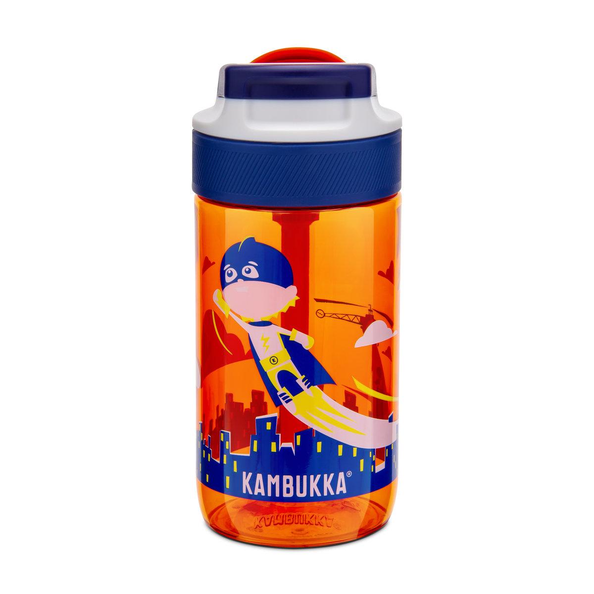 Kambukka 藍湖兒童吸管杯 (Tritan) 14oz (400ml) – 橙色+男孩小超人圖案