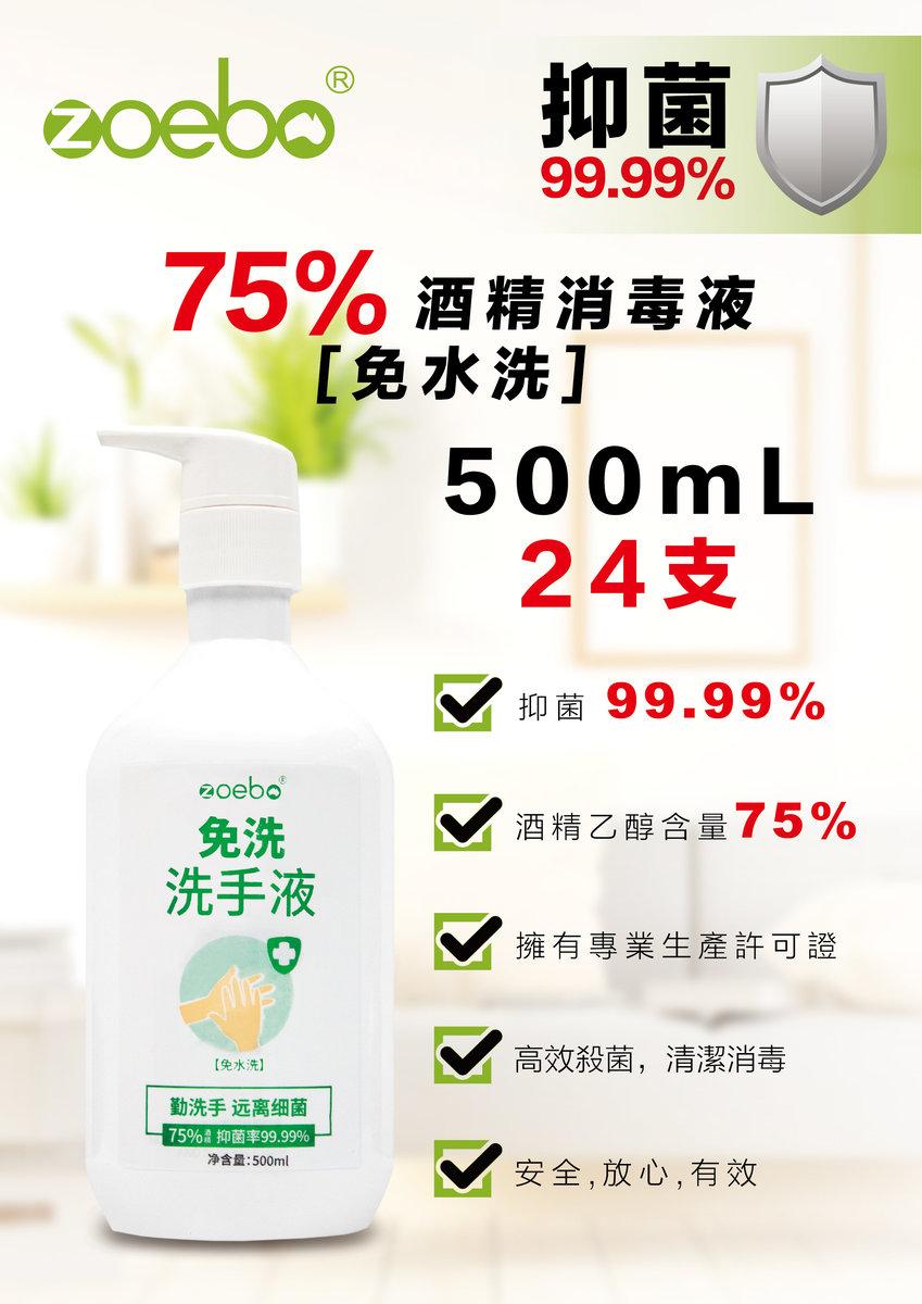 IZD755-V 75%酒精消毒搓手液(免水洗) 24 支套裝