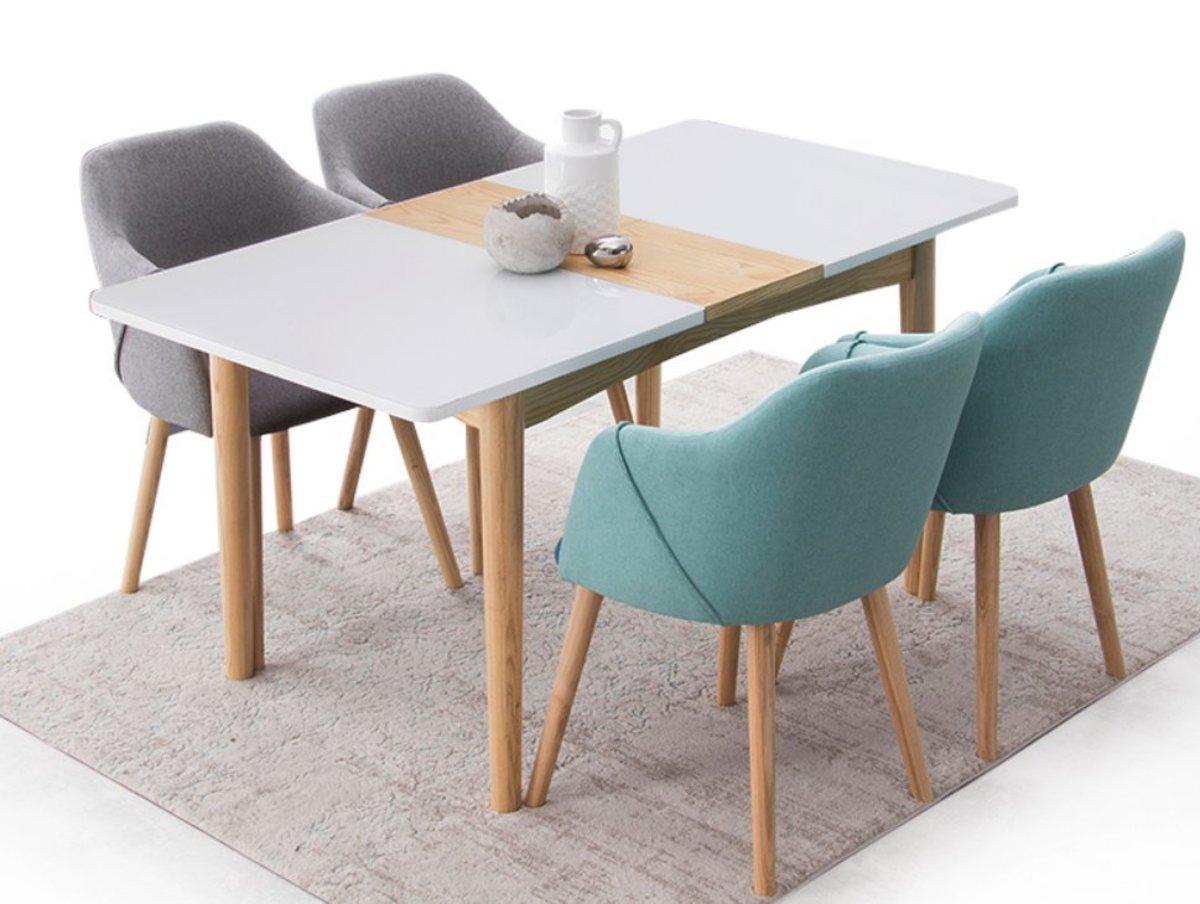 實木玻璃開合餐桌