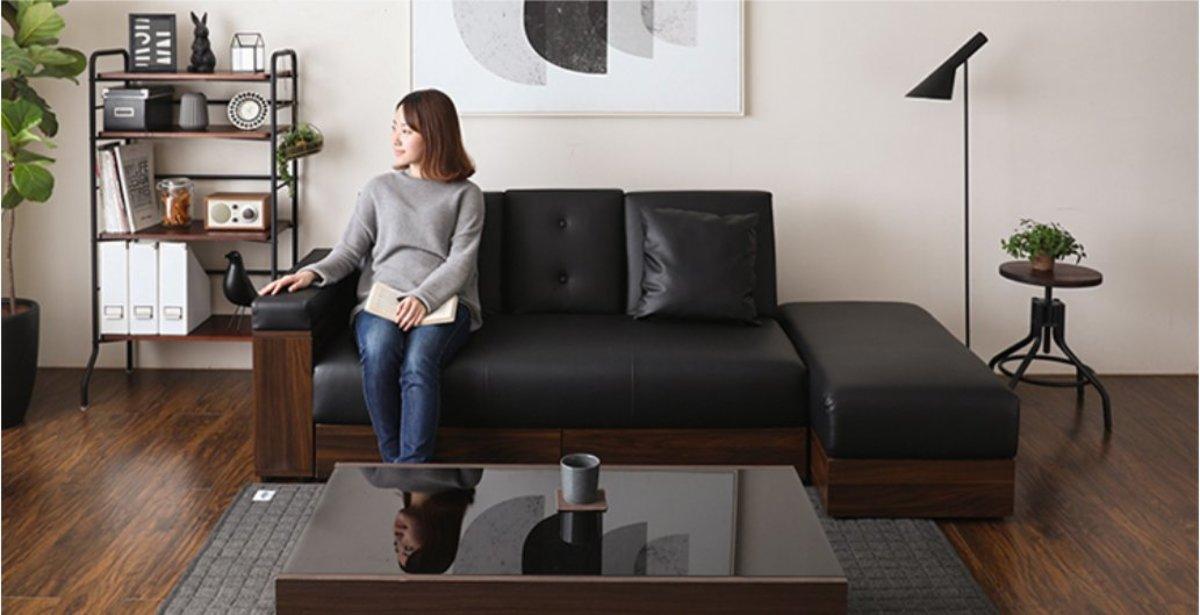 Functional PU Sofa Bed (Black)