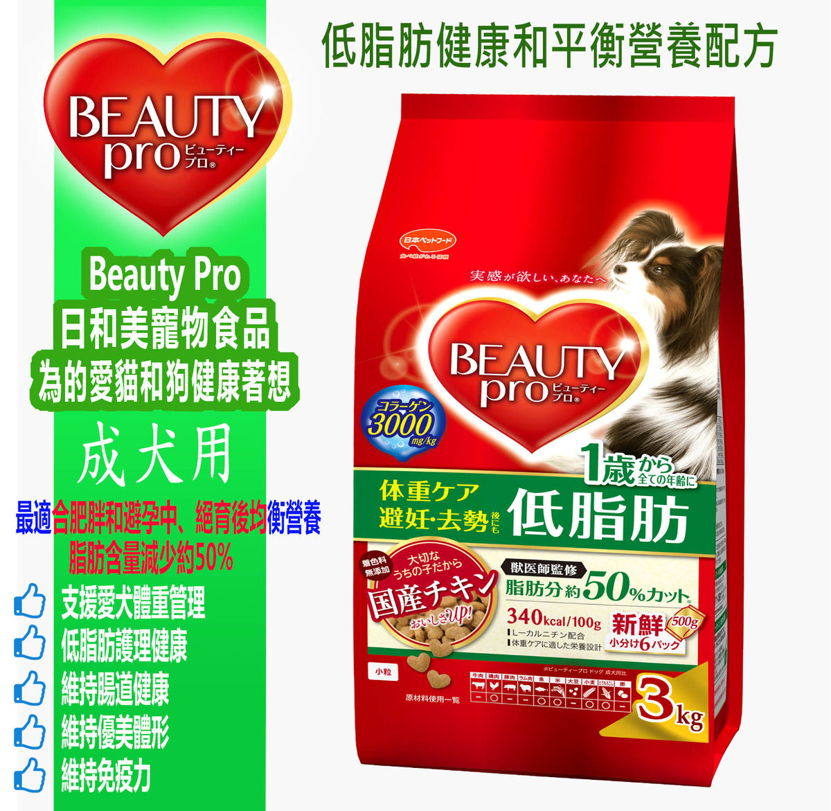 Beauty Pro - Adult dog food - Low fat health and balanced nutrition formula (Chicken flavor) 2.7Kg