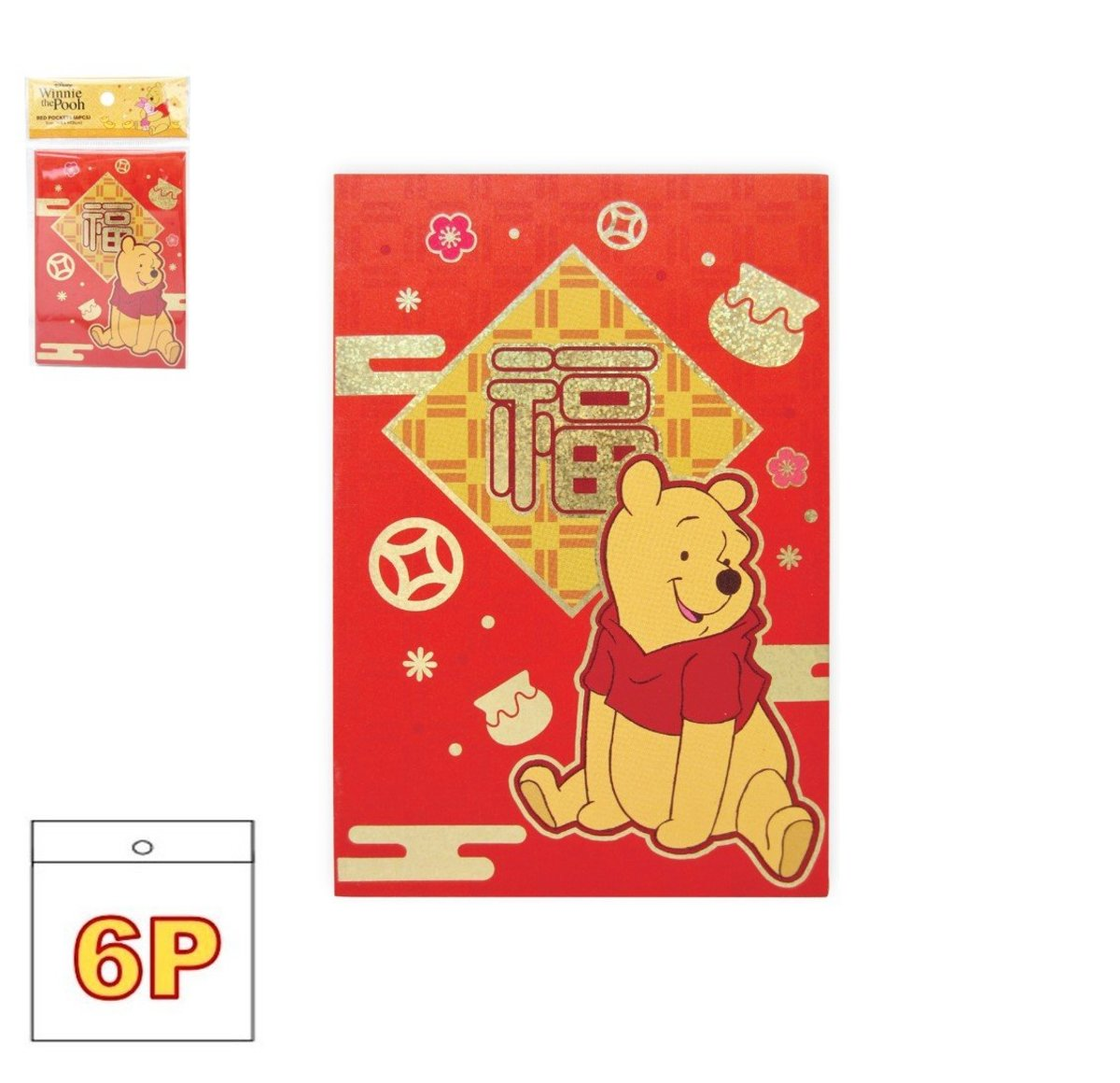red pocket set F(Rectangular version) 6P(Licensed by Disney)
