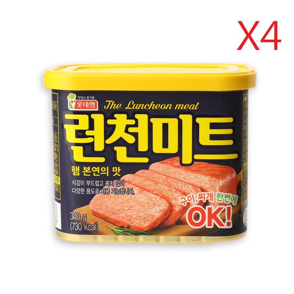 Lotte Luncheon Meat 340g x 4can    [Parallel Import Product]