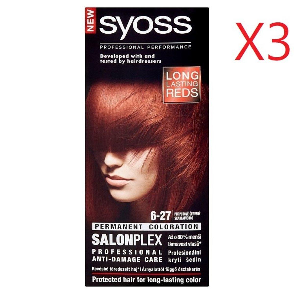 髮廊專用 抗損髮染髮套裝 6-27 酒紅色  X3盒 [平行進口產品]