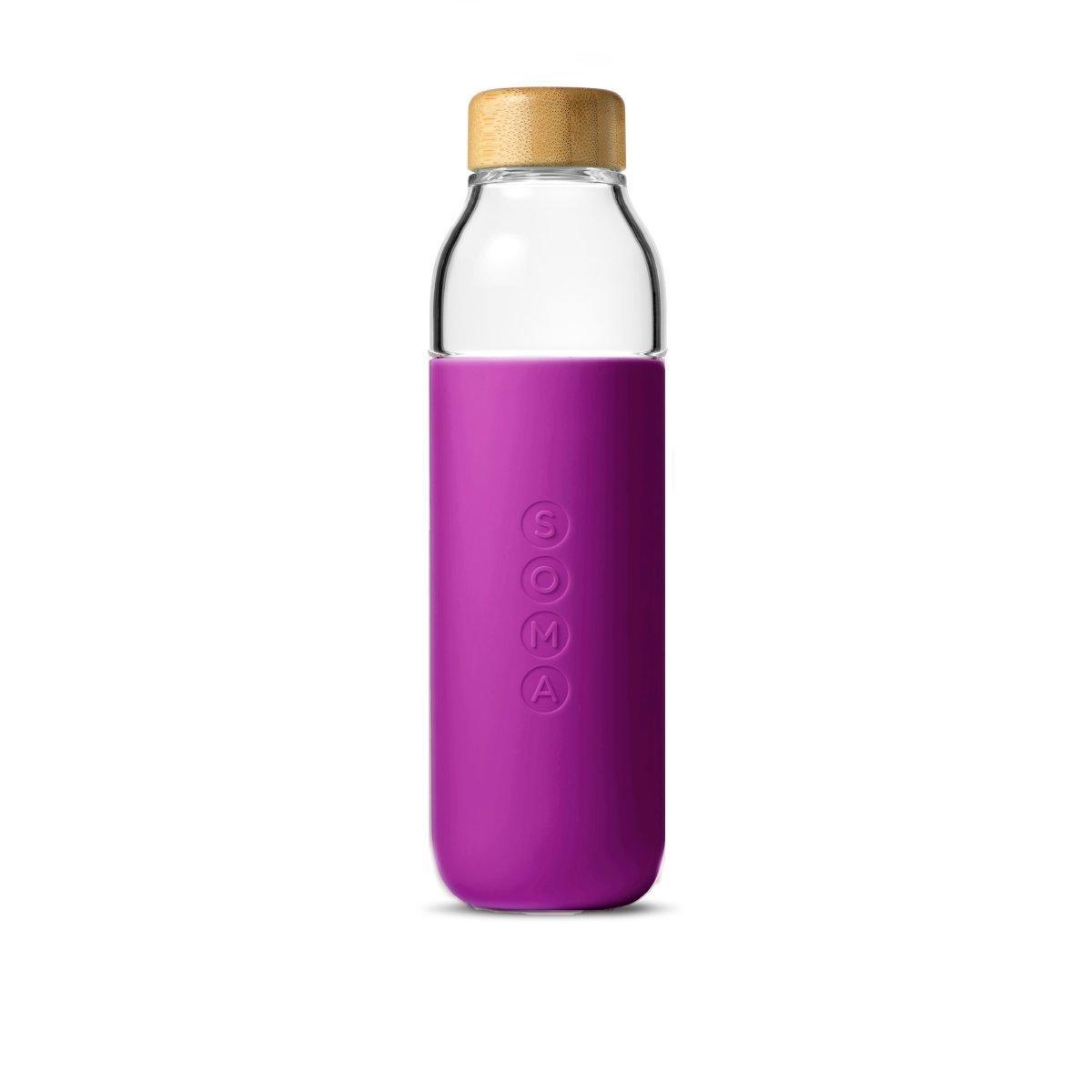 竹蓋玻璃水樽 500ml - 紫色