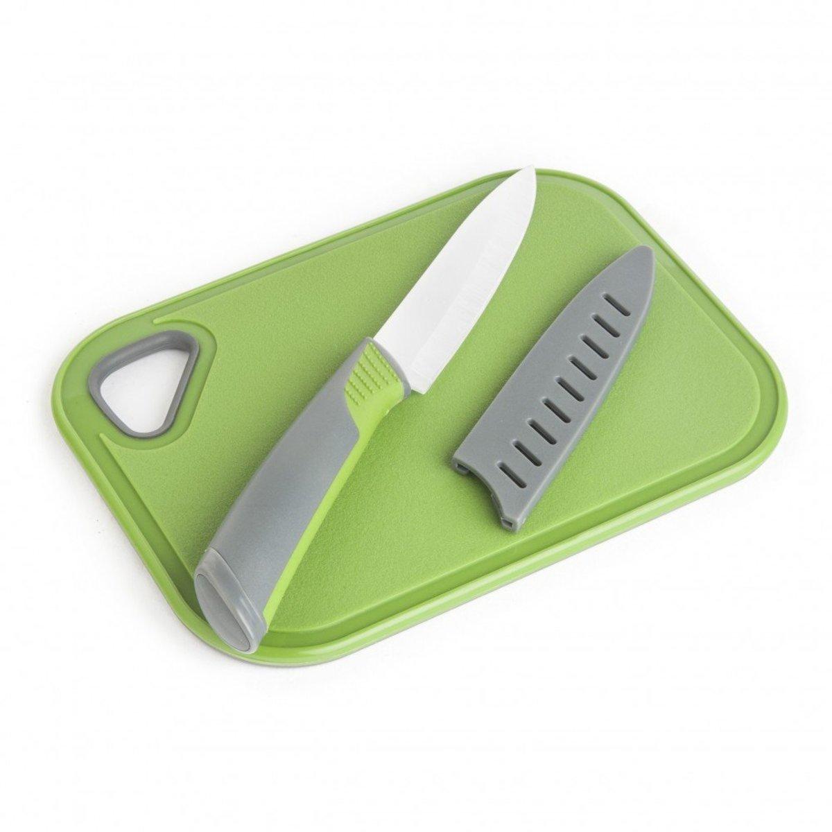 Non-Slip Bar Cutting Board & Ceramic Knife