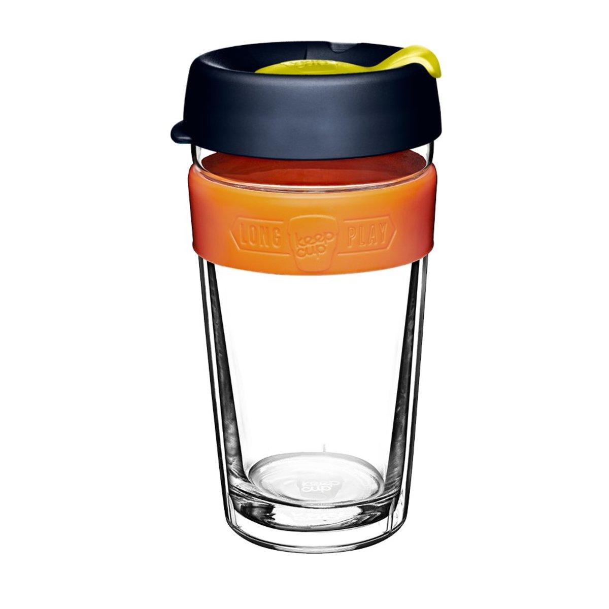 LongPlay 走杯鋼化玻璃雙層外帶杯 L/16oz/454ml - 藍橙色(澳洲製造)