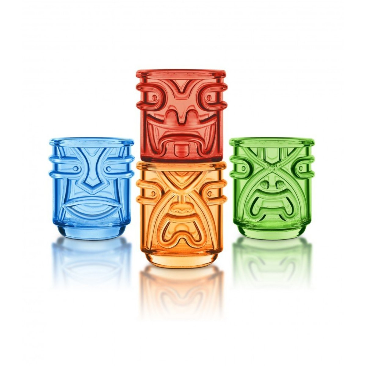 Coloured Tiki Tumbler Glass 355ml (4pcs)