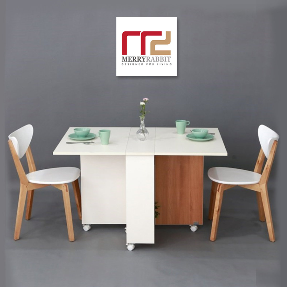 Folding Dining Table 1.0m WT043-6 white