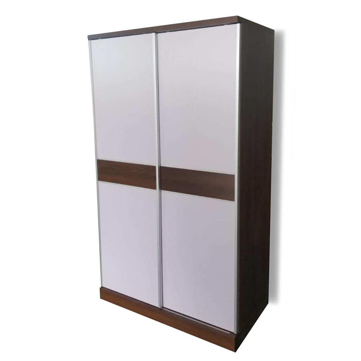 Light walnut wood/white door four-foot door wardrobe