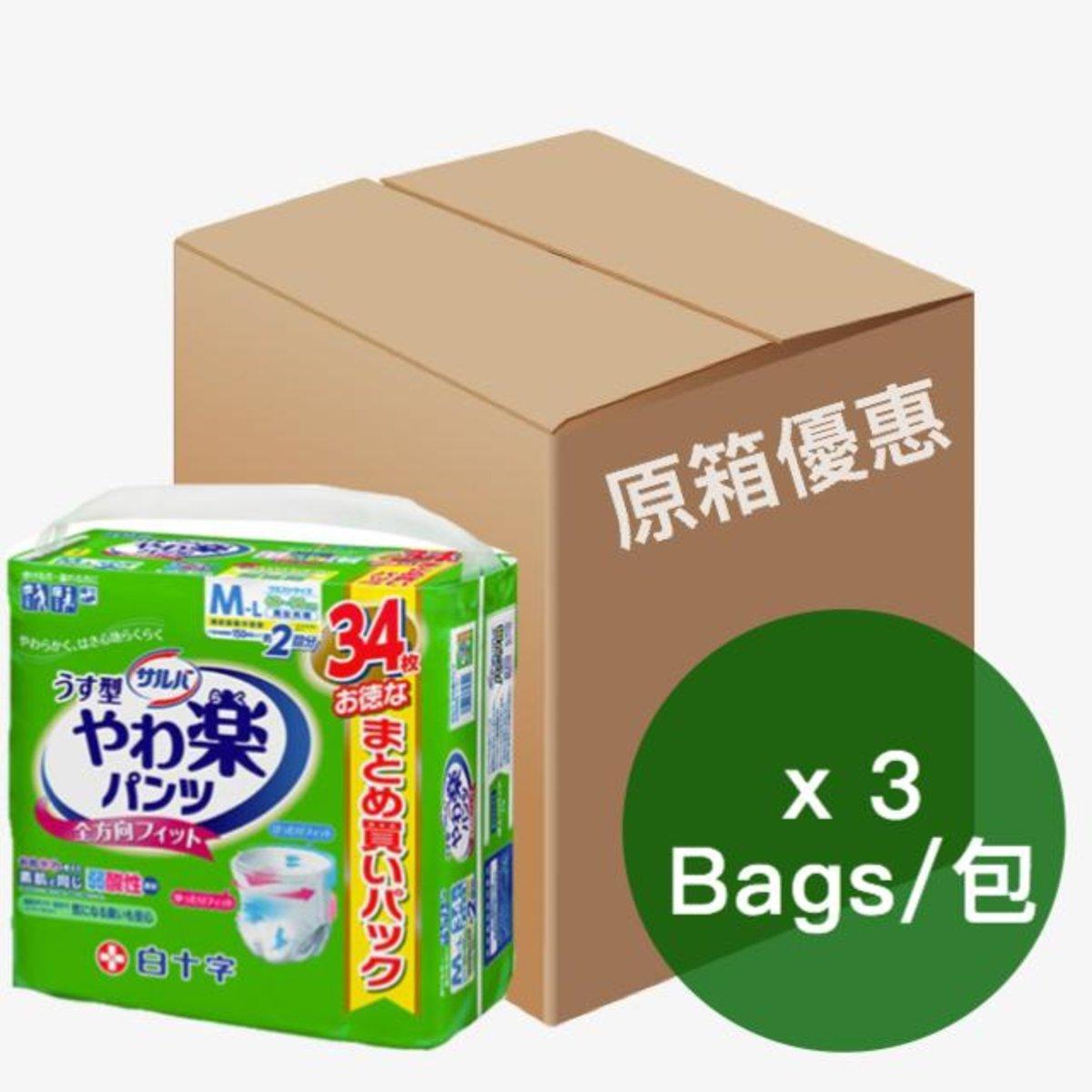 日本喜舒樂成人紙尿褲-中碼(薄裝) (34片/包)(3包/箱) 01010238 x3