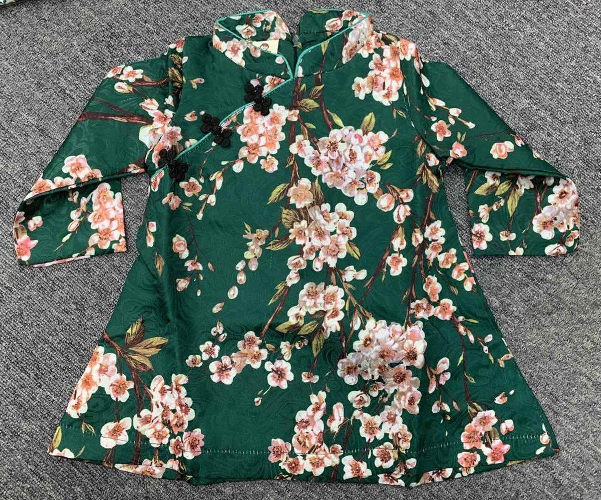 中國風小童旗袍11碼(深綠花色)