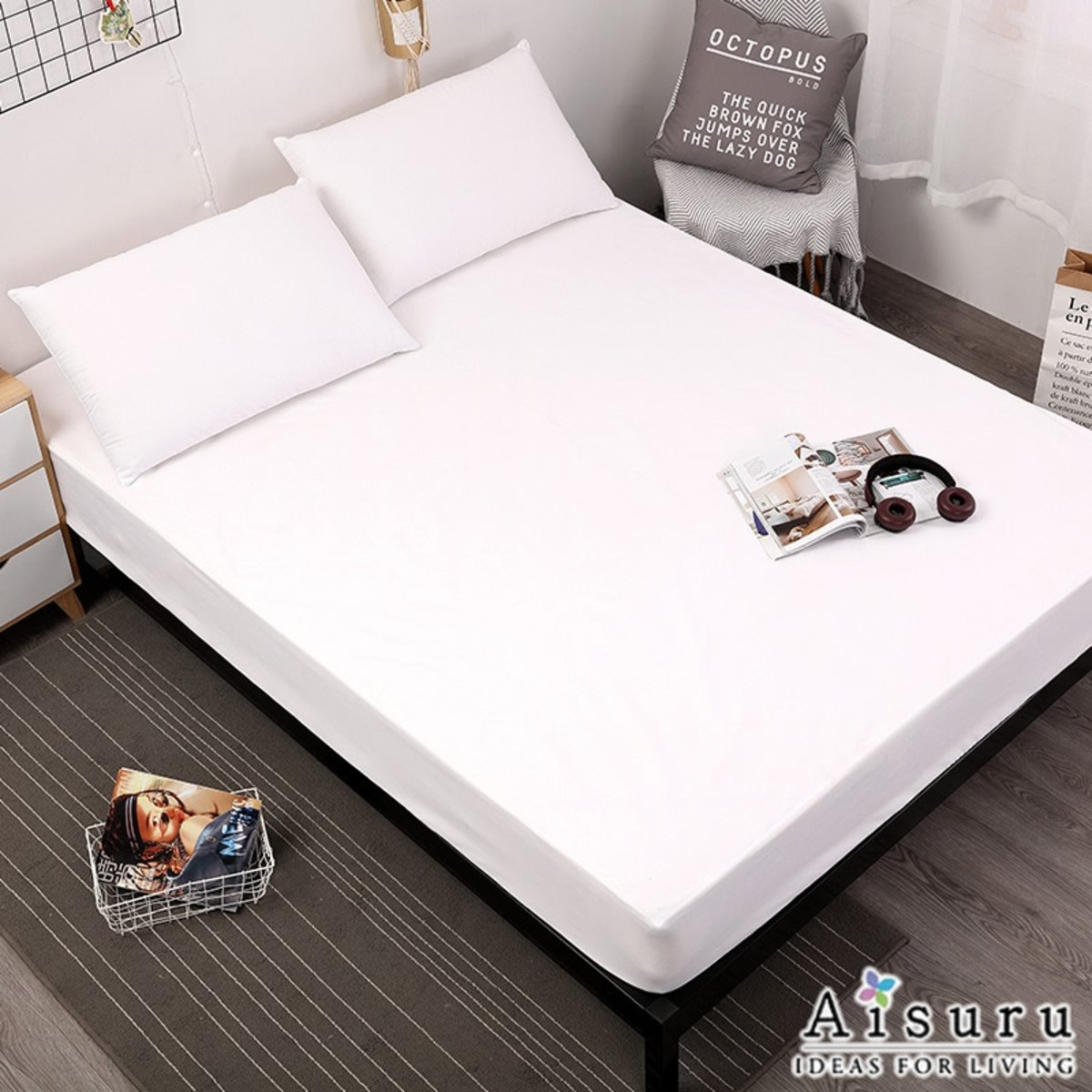 waterproof bed cover single WHITE