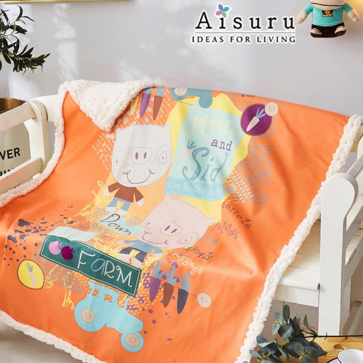 Baby cartoon warm crystal fleece blanket (orange pig)