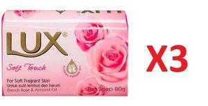 LUX 法國玫瑰&杏仁油柔嫩香皂 80g (3件)[平行進口]