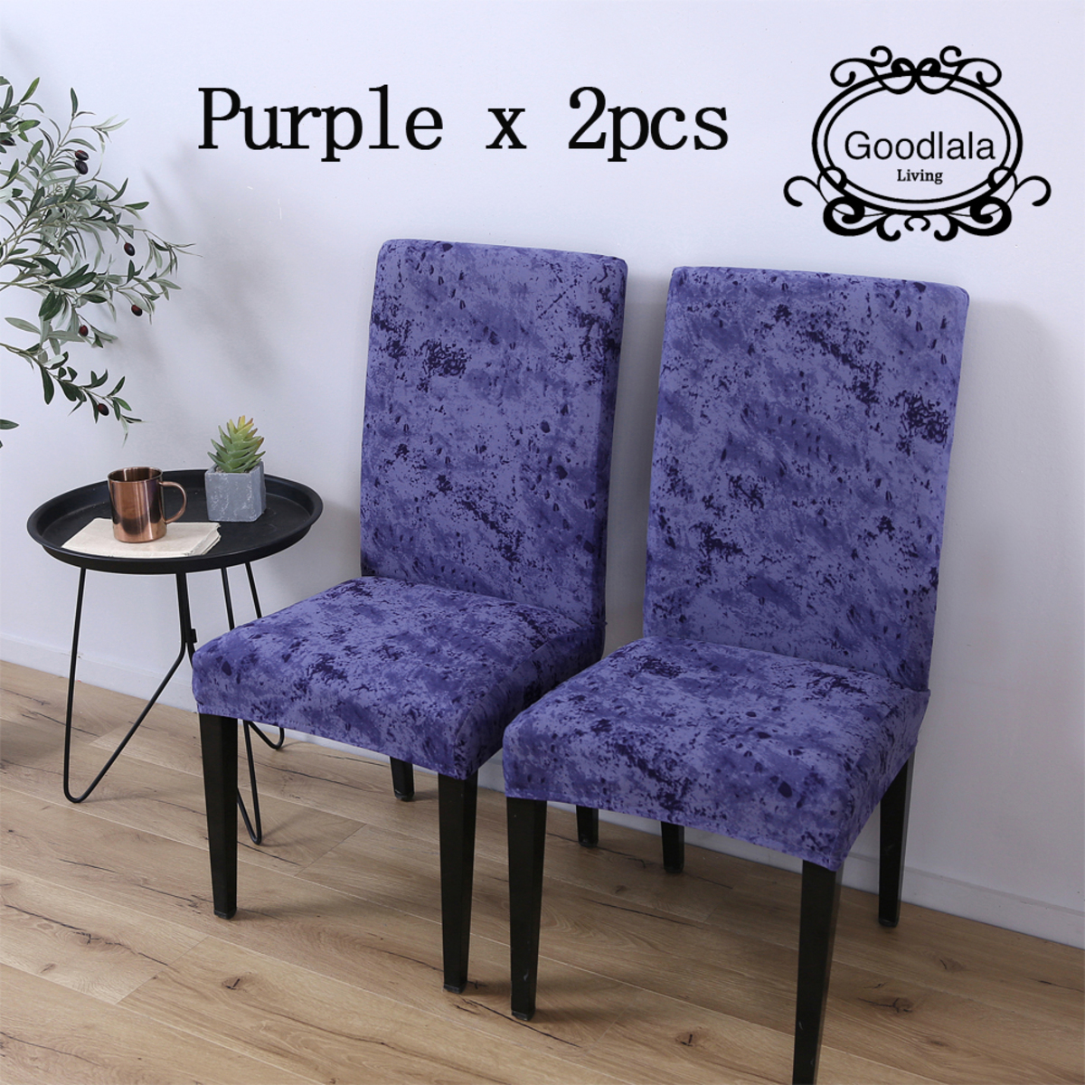 Computer chair or dining chair cover(Purple)_2pcs