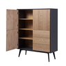"""43"""" Dark Grey with ASH COLOR Three Doors with Three Drawers Sideboard"""