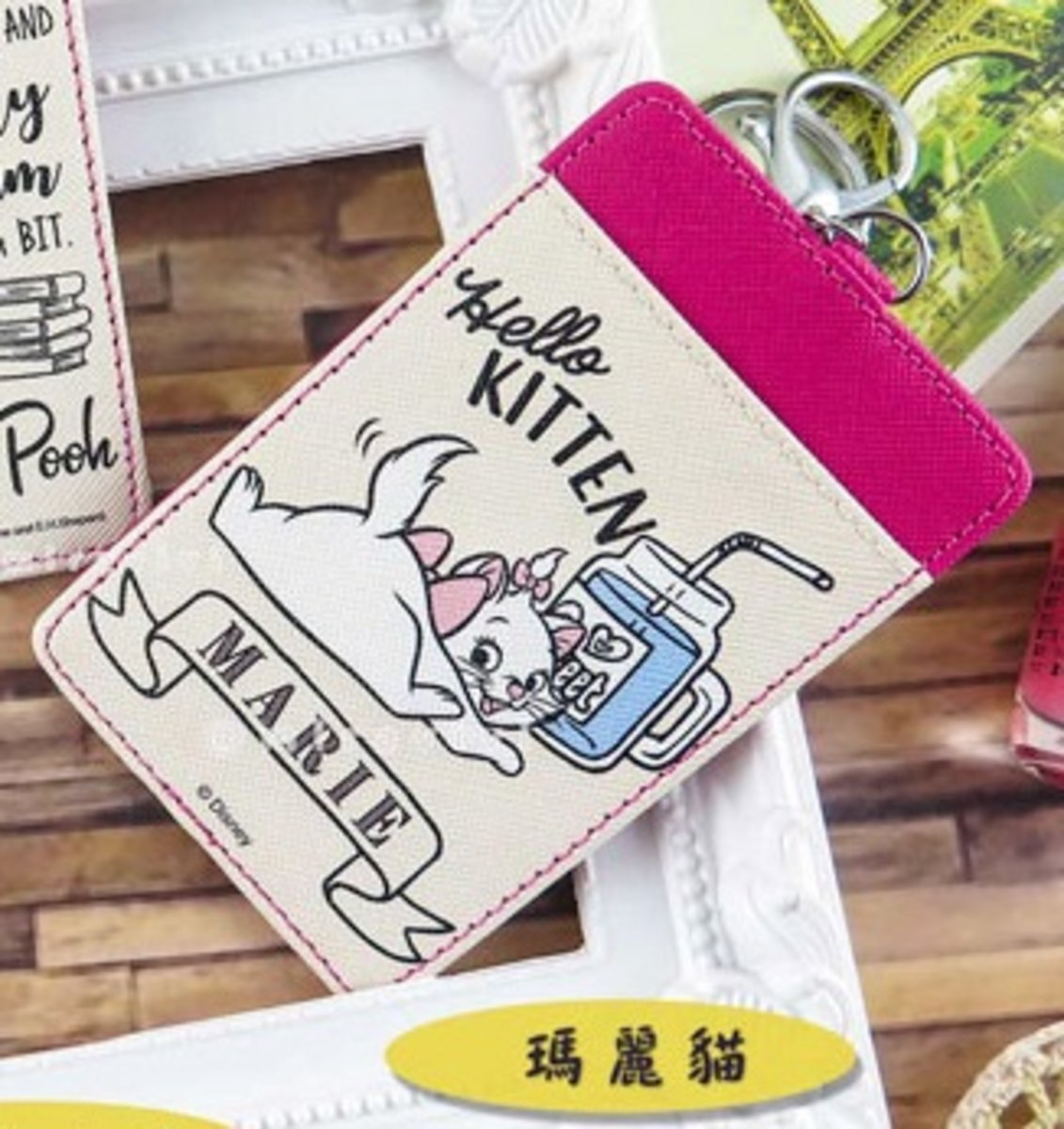 迪士尼 皮革手繪漫畫風格 八達通/證件 卡套 ( cardholder07 ) 瑪麗貓