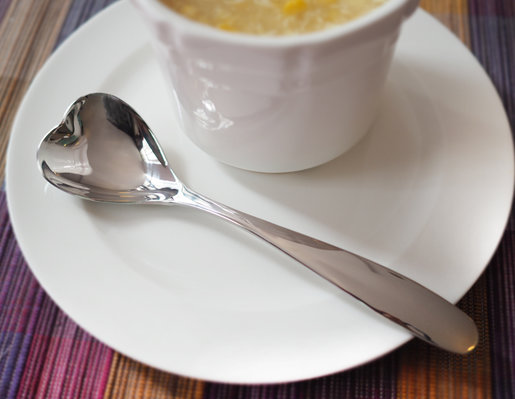 Stainless Steel Soup Spoon (Heart Shaped@@@ Large)