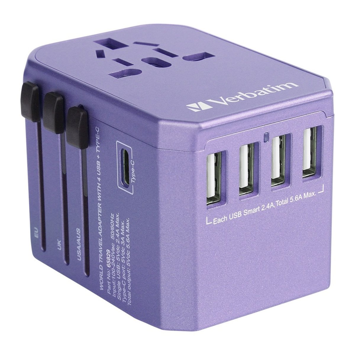 5 Ports Universal Travel Adapter 4 USB Type C 5.6A Charger- Purple
