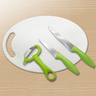 Set of 4 with 2 pcs Knife, Peeler & Cutting Board (FQ-A17)