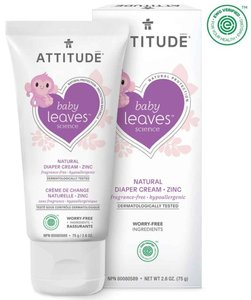 ATTITUDE Baby leaves 嬰幼兒天然抗敏肌尿布疹霜(鋅) 75g  無香味