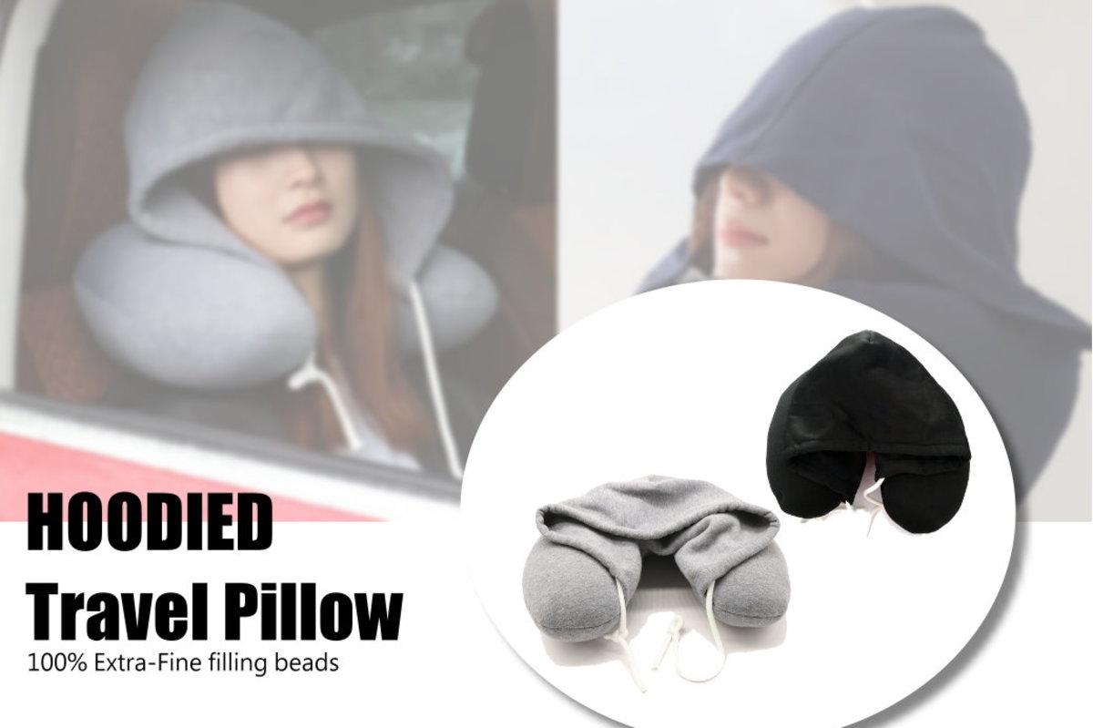 [伴您同遊] 全綿彈性面料多用途連帽頸枕-灰色