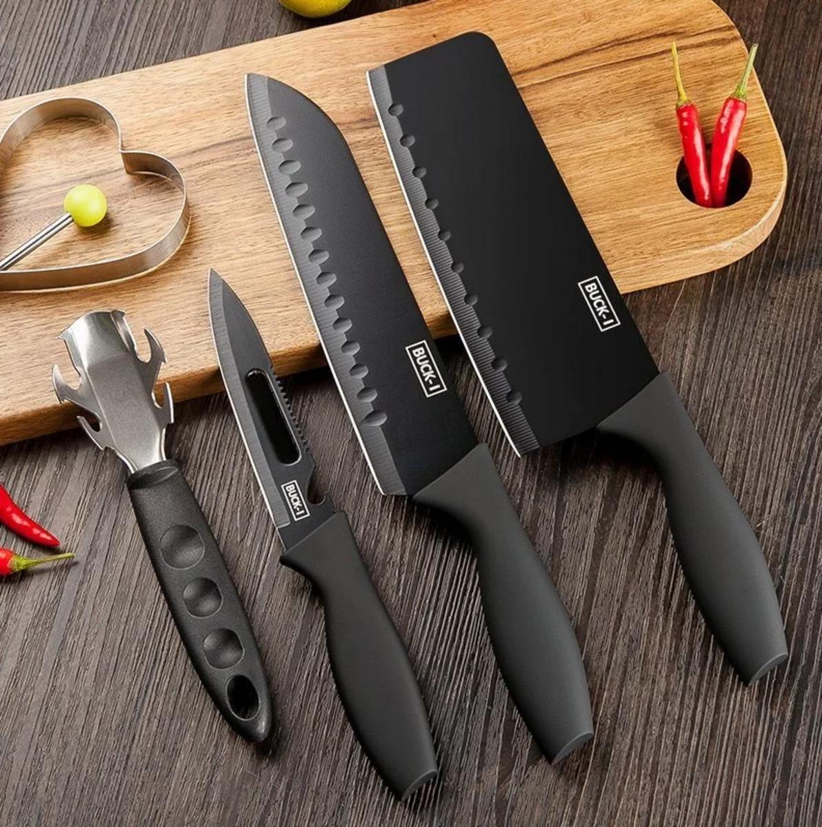 【連專用刀座】Black Steel BUCK-I 不銹黑鋼廚刀4把裝 連專用刀座套裝