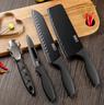 【All in One】Black Steel BUCK-I Stainless Steel Knife Set of Four & Holder & X-Shape Instant Knife Sharpener
