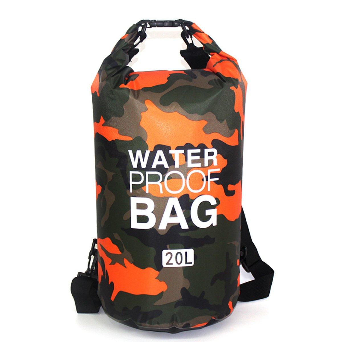 【夏天戶外 防水 必備 】兩用背囊式防水袋 20L (迷彩橙)