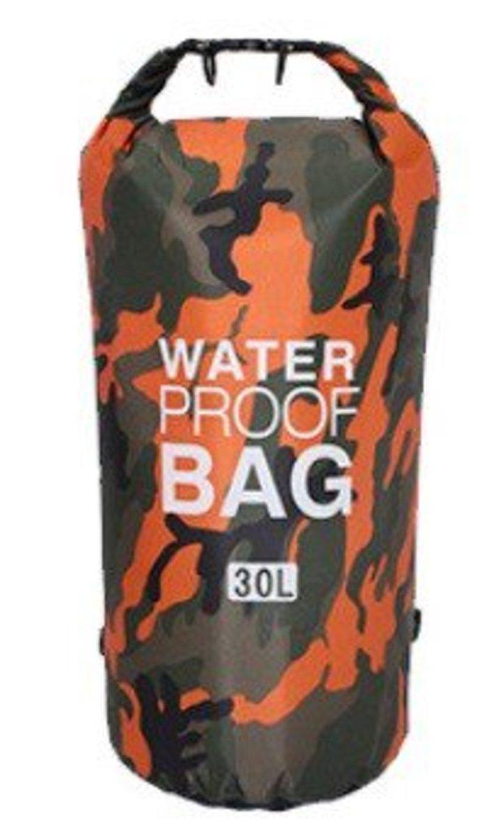 【夏天戶外 防水 必備 】兩用背囊式防水袋 30L (迷彩橙)