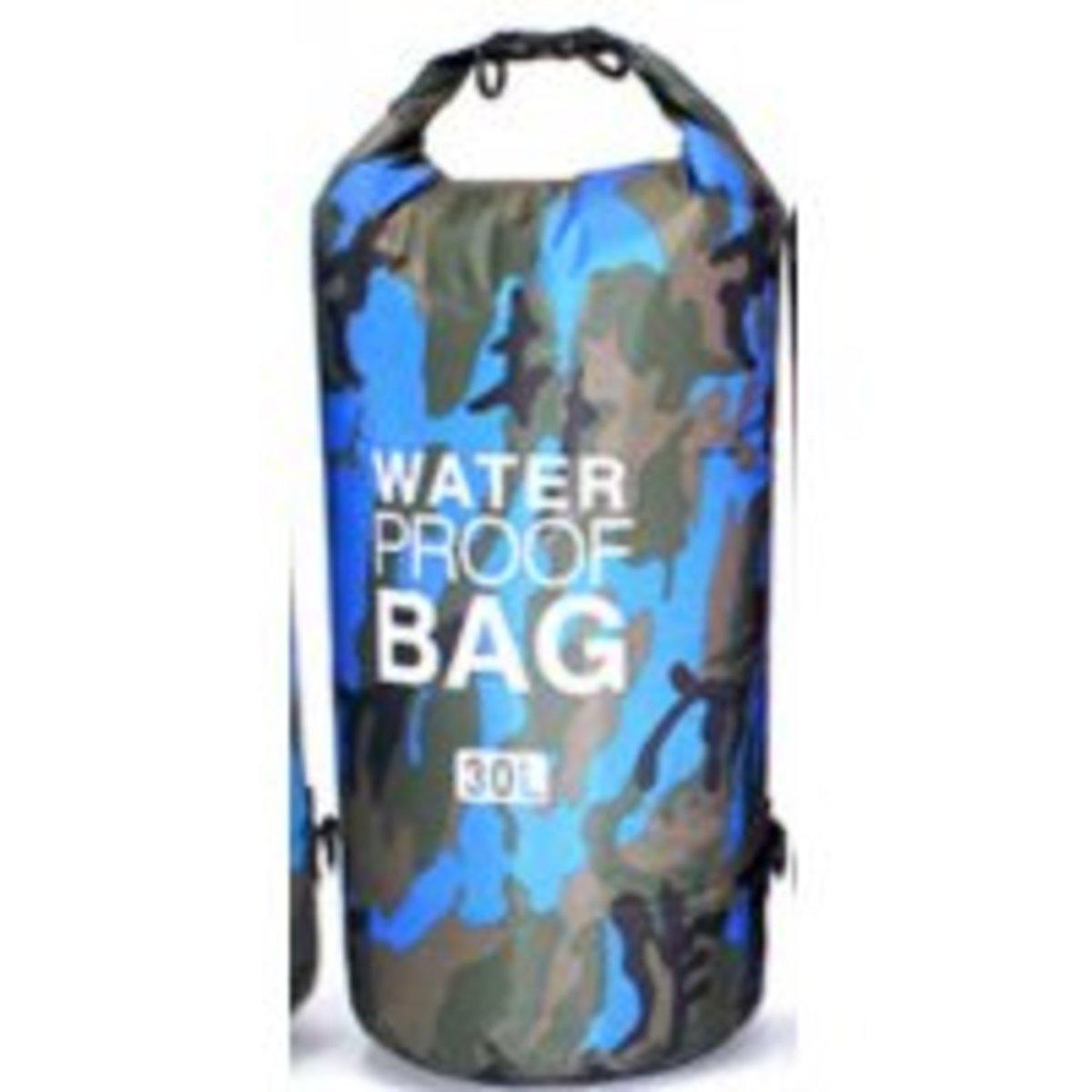 【夏天戶外 防水 必備 】兩用背囊式防水袋 30L (迷彩藍)