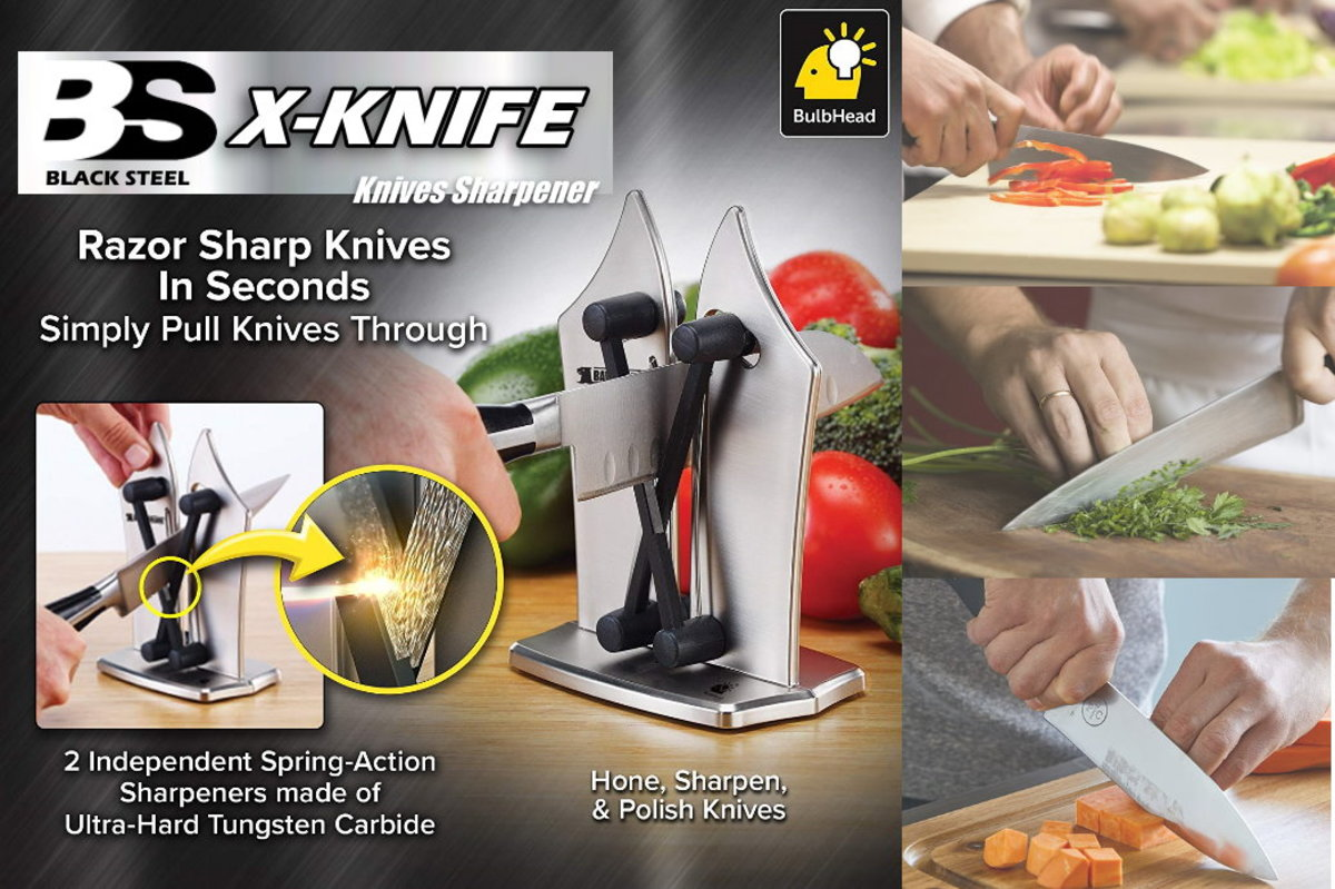 Black Steel - Bavarian Edge Kitchen Knife Sharpener X-shape