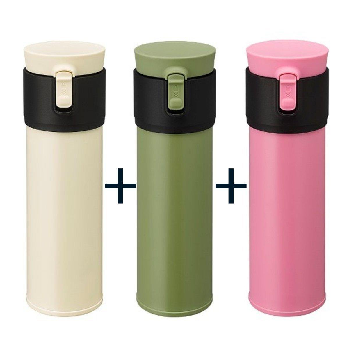 泡溫杯 U500(三個裝) - 象牙色+啞綠色+粉紅色