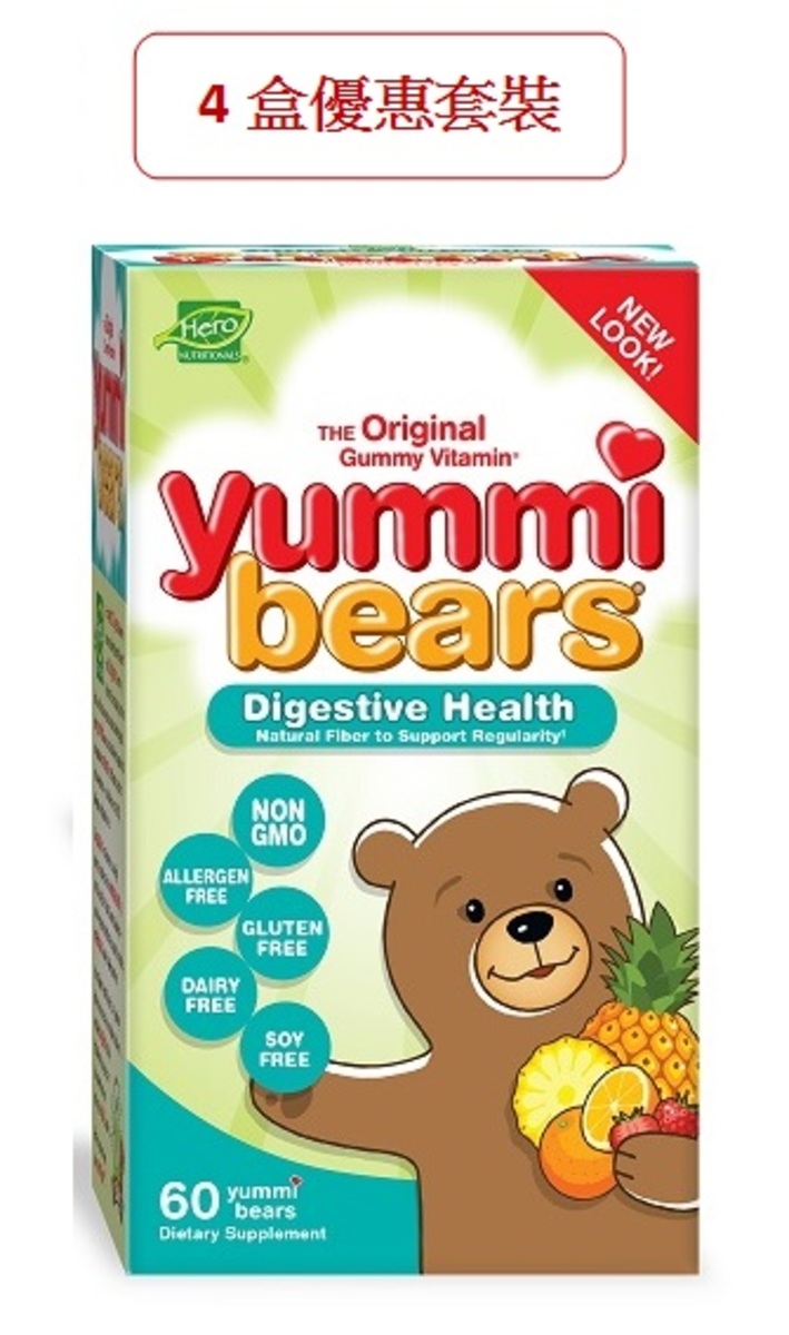 4 pcs of Fiber Supplement for Kids,   60 Count Gummy Bears