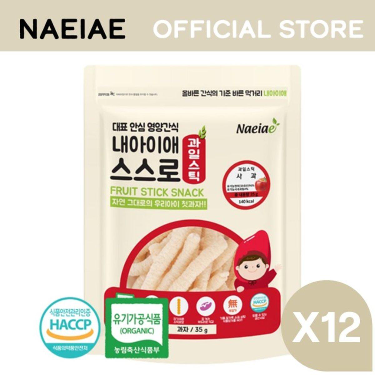 Naeiae 嬰兒有機水果糙米條 - 蘋果 35g X12包