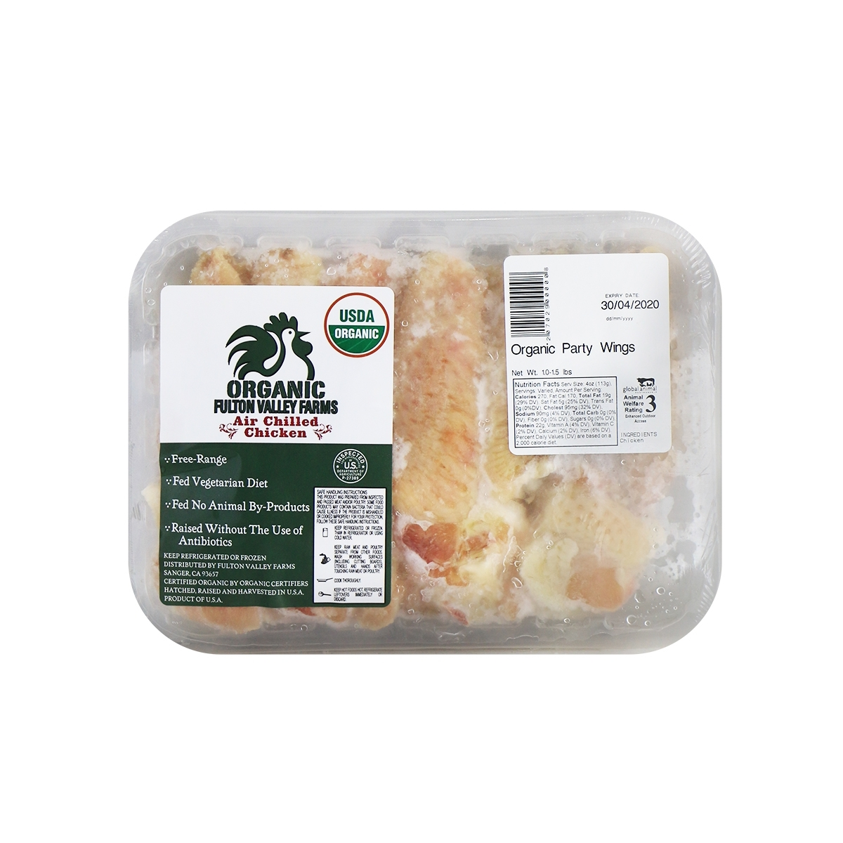 Organic Chicken Party Wings1-1.5lb+-