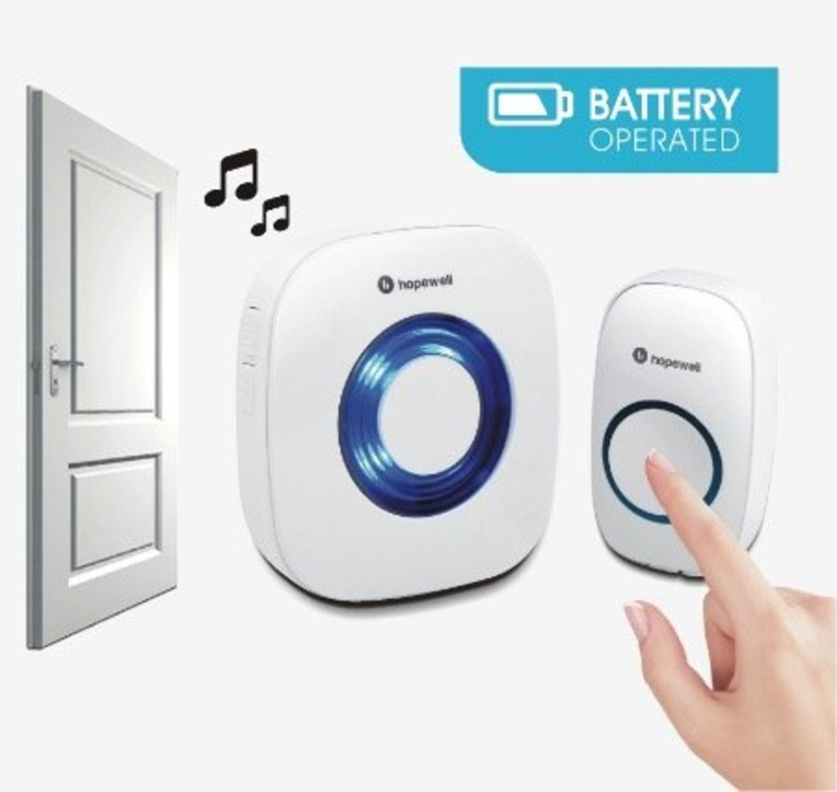 200m Battery Operated Wireless Doorbell[Twin Pack]