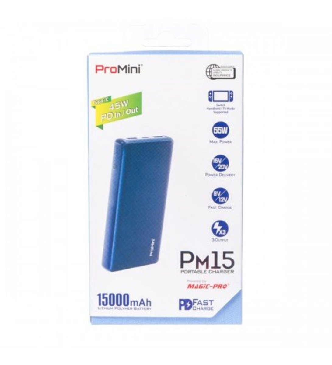 ProMini PM15 PD 快速充電流動電池[藍色]