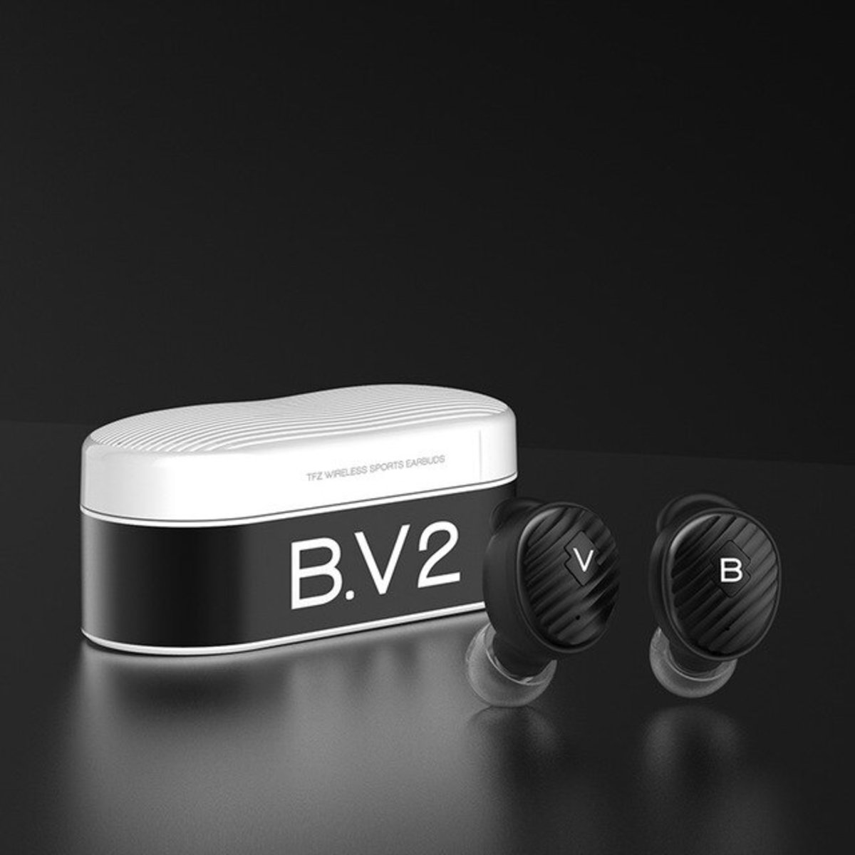 B.V2 Dynamic Driver HIFI True Wireless Earphons[Black]