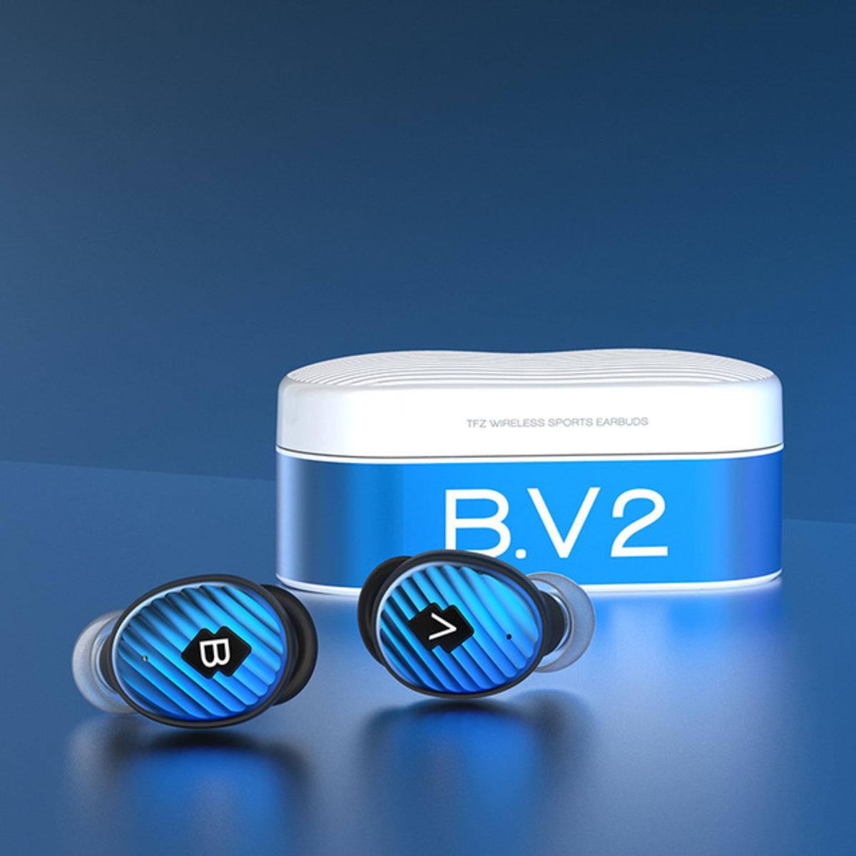 B.V2 Dynamic Driver HIFI True Wireless Earphons[Blue]